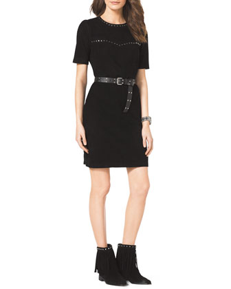 Studded Belted Suede Dress