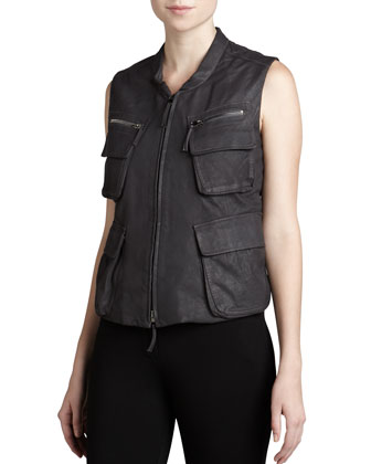 Leather Zip-Front Vest