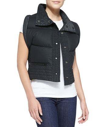 Reversible Down Vest, Black/Anthracite