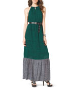 Two-Tone Jersey Maxi Dress