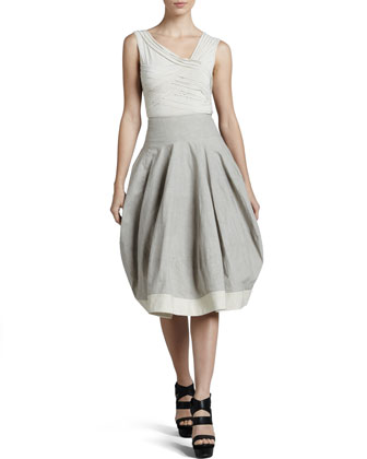 Contrast-Hem Bubble Skirt, Oyster