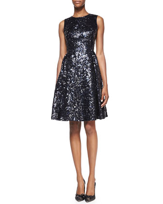 sleeveless sequined fit-and-flare cocktail dress