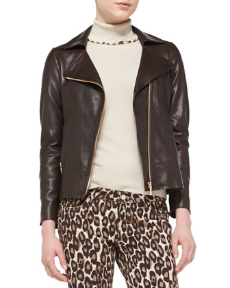 linnea zip-front moto jacket with back bow detail