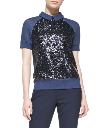 milo short-sleeve sequined sweatshirt