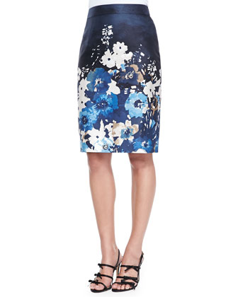 bekki ruffle-trim turtleneck sweater & autumn floral maritime pencil skirt