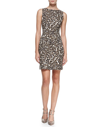 autumn leopard domino sheath dress