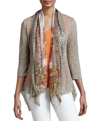 Draped Scarf-Inset Cardigan