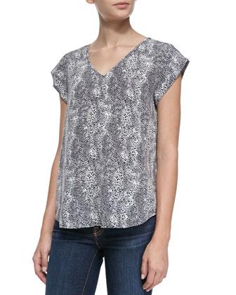 Lynny Leopard-Print Short-Sleeve Top