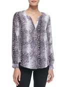 Moema Silk Printed V-Neck Top