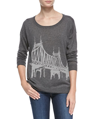 Eloisa Bridge-Pattern Knit Sweater