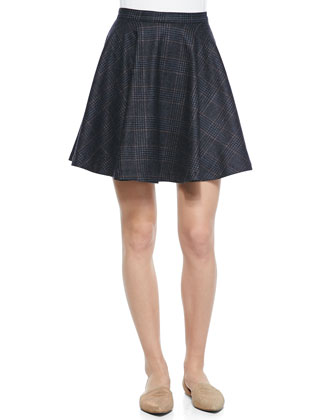 Ondrina Rib-Trim Felt Coat & Ivanna A-Line Plaid Swingy Skirt