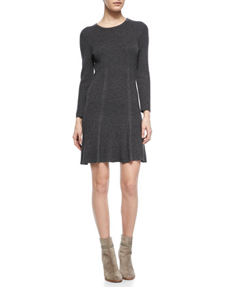 Jolia Drop-Skirt Knit Sweaterdress