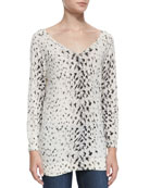 Brooklyn V-Neck Leopard-Print Sweater