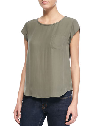 Rancher Cap-Sleeve Pocket Blouse, Fatigue