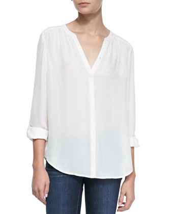 Marice Split-Neck Silk Blouse