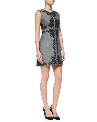Yvette Sleeveless Appliqu?? Panel Dress