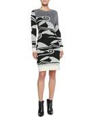 Cloud Wave-Print Sweaterdress