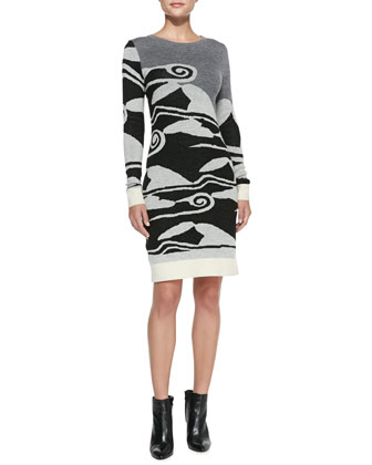 Cloud Wave-Print Sweater Dress