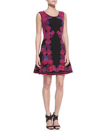 Sleeveless Floral Body-Conscious Dress
