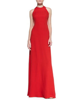 Halter-Neck Back Strap Gown