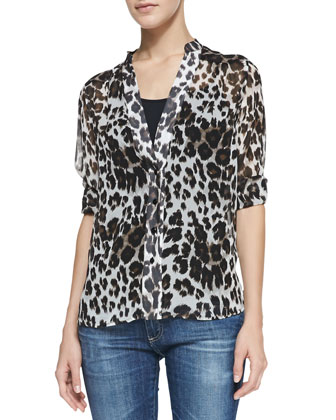 Harlow Tab-Sleeve Snow Leopard-Print Blouse