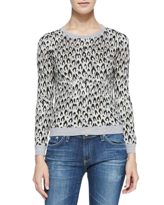 Leopard-Dance Long-Sleeve Sweater