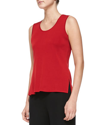 Sleeveless Scoop-Neck Tank, Petite, Classic Red
