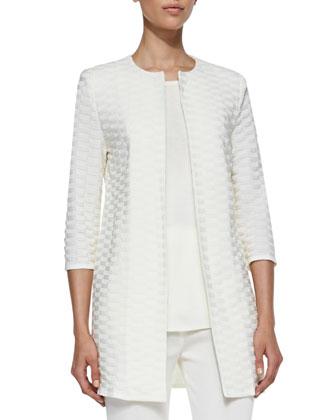 Textured Long Open Jacket, Women's