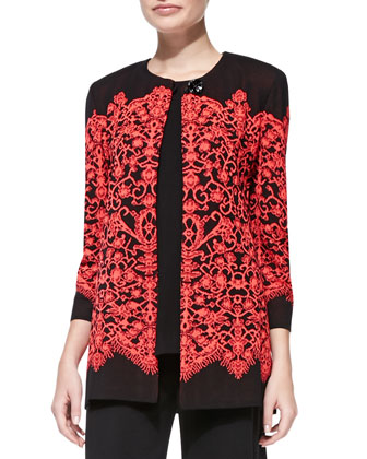 Lace-Print Long Jacket, Women's