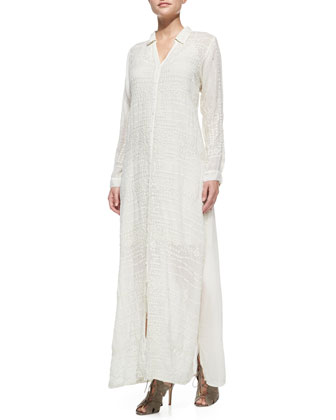 Georgette Button-Front Long Dress, Women's