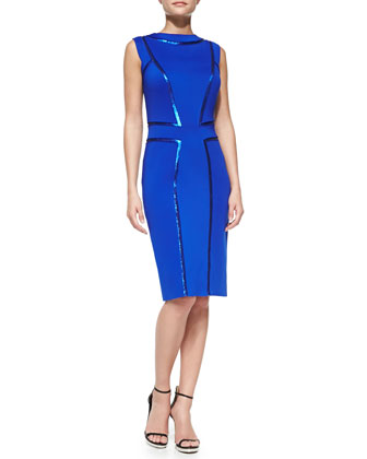 Sleeveless Sequin-Seamed Cocktail Sheath Dress