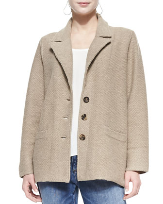Merino Notch-Collar Three-Button Jacket, Women's