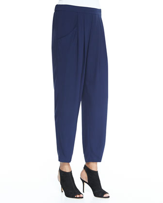 Asymmetric Open-Shoulder Top & Slouchy Silk Ankle Pants, Petite