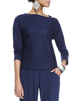 Asymmetric Open-Shoulder Top, Petite