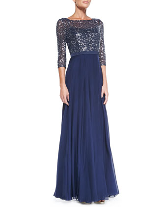 3/4-Sleeve Sequined Lace Bodice Gown