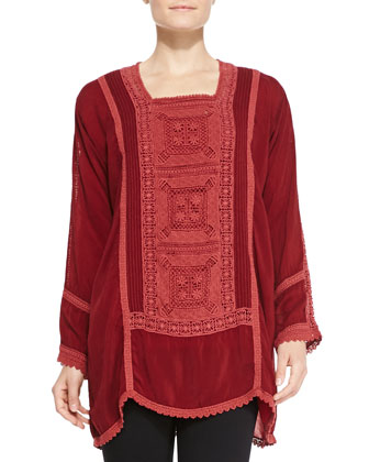 Alesandra Long-Sleeve Crochet Blouse