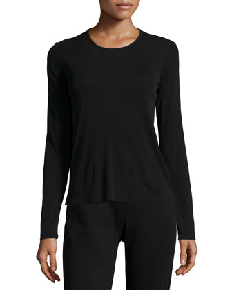Long-Sleeve Silk Crewneck Tee, Petite