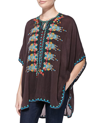 Mae Embroidered Georgette Poncho, Women's
