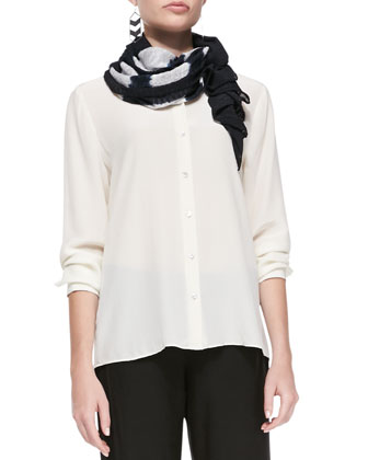 Long-Sleeve Silk Button-Front Blouse, Straight-Leg Pants & Fil Coupe Bars Scarf