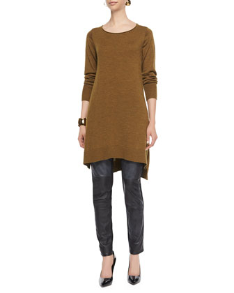 Merino Jersey Layering Dress, Ponte Leather-Blocked Leggings & Airy ...