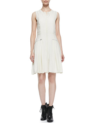 Nettie Striated Zip-Pocket Dress