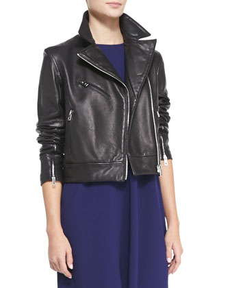 Victorian Lambskin Biker Jacket & Harper Jersey Colorblock Dress