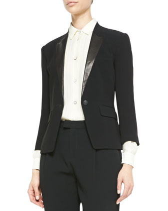 Smith Leather-Lapel Blazer, Jo Anne Striped Silk Blouse & Park Pleated ...