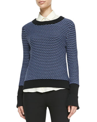 Sabina Rib-Trim Patterned Sweater, Jo Anne Striped Silk Blouse & Simone ...