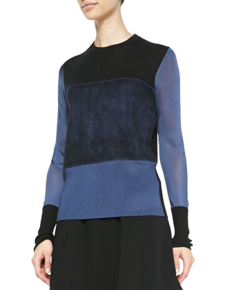 Marissa Colorblock Knit Sweater & Kelly Leather-Waist Shorts