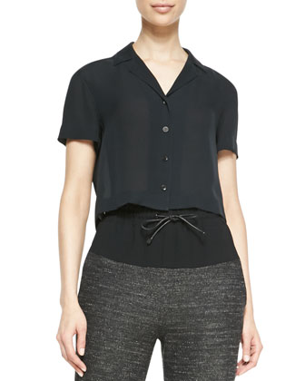 Cropped Button-Front Silk Blouse
