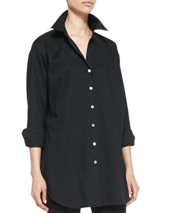 Solid Big Long-Sleeve Shirt, Petite