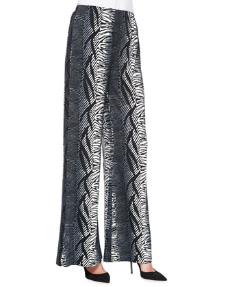 3/4-Sleeve Asymmetric Top & Tribal Stripe Wide-Leg Pants, Women's