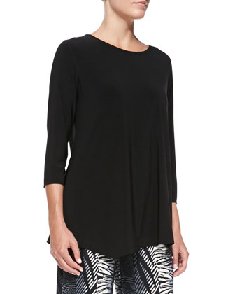 3/4-Sleeve Asymmetric Top, Petite