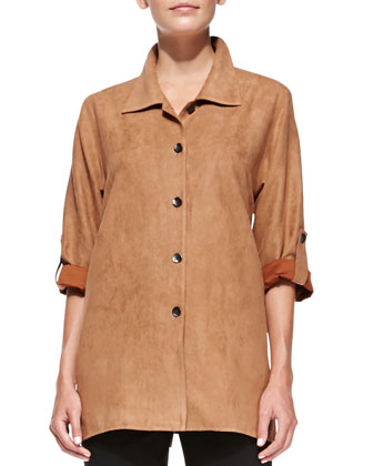 Modern Faux-Suede Button-Front Shirt & Ponte Slim Pants, Petite
